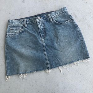J. Crew Vintage Wash Frayed Hem Jean Mini Skirt